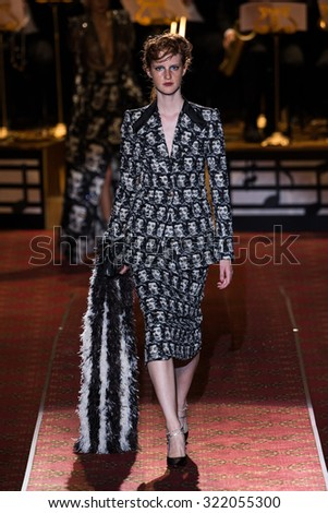 NEW YORK, NY - SEPTEMBER 17: A model walks the runway during the Marc Jacobs Runway Spring 2016 New York Fashion Week: The Shows at Ziegfeld Theater on September 17, 2015 in New York City.