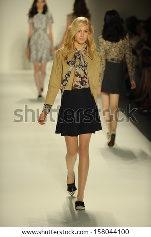 NEW YORK, NY - SEPTEMBER 07: A model walks the runway during the Ruffian Spring/Summer 2014 collection fashion show at The Studio at Lincoln Center on September 7, 2013 in New York City.