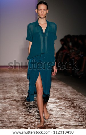 NEW YORK, NY - SEPTEMBER 6: A model walks the runway during theKimberly Ovitz  Spring Summer 2013  fashion show during Mercedes-Benz Fashion Week on September 6, 2012 in New York City, USA - stock photo