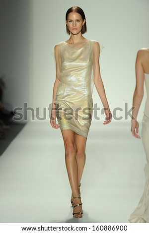 NEW YORK, NY - SEPTEMBER 10: A model walks the runway in an Ellassay design at the Fashion Shenzhen show during Mercedes-Benz Fashion Week Spring 2014 on September 10, 2013 in New York City. - stock photo
