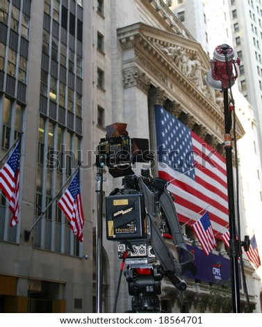 NEW YORK, NY -- SEPTEMBER 30, 2008: A Television Camera is Ready for Action Outside the New York Stock Exchange on September 30, 2008, the day after the record-breaking 777-point drop in the Dow