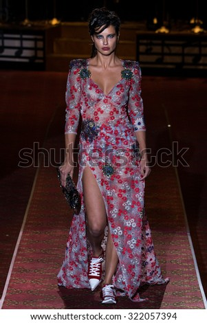 NEW YORK, NY - SEPTEMBER 17: Adriana Lima walks the runway during the Marc Jacobs Runway Spring 2016 New York Fashion Week: The Shows at Ziegfeld Theater on September 17, 2015 in New York City. - stock photo