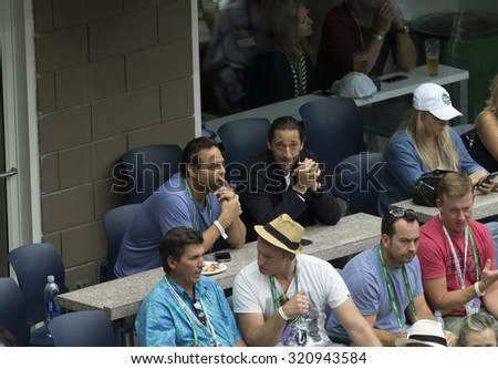New York, NY - September 13, 2015: Adrien Brody attends final of US Open Championship between Novak Djokovic of Serbia & Roger Federer of Switzerland during at Ash stadium - stock photo