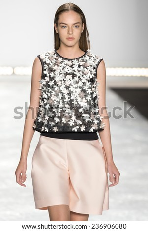 New York, NY - September 5, 2014: Alma Durand walks the runway at Monique Lhuillier show during Mercedes-Benz Fashion Week Spring 2015 at The Theatre at Lincoln Center - stock photo
