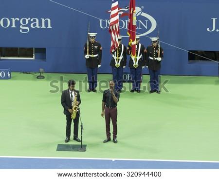 New York, NY - September 13, 2015: Aloe Blace perform American Anthem at opening ceremony final of US Open Championship between Roger Federer of Switzerland & Novak Djokovic of Serbia at Ash stadium - stock photo