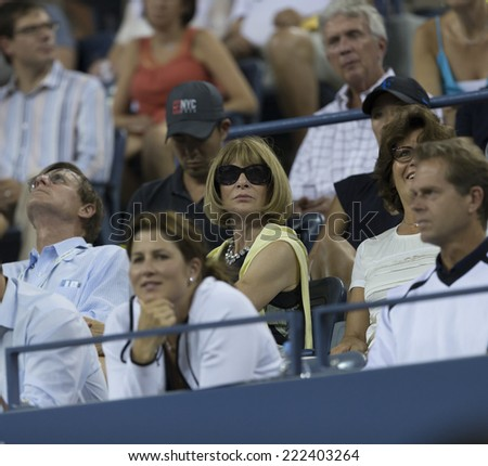 NEW YORK, NY - SEPTEMBER 2, 2014: Anna Wintour attends 4th round match between Roger Federer & Bautista Agut at US Open in Flushing Meadows USTA Tennis Center
