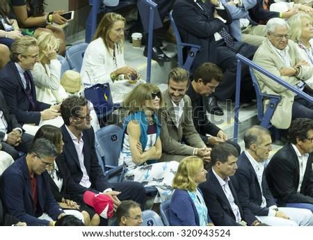 New York, NY - September 13, 2015: Anna Wintour, David Beckham attend final of US Open Championship between Novak Djokovic of Serbia & Roger Federer of Switzerland during at Ash stadium - stock photo