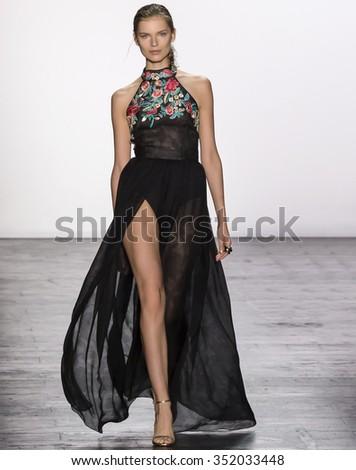New York, NY - September 15, 2015: Anni Jurgenson walks the runway at the Dennis Basso fashion show during the Spring Summer 2016 New York Fashion Week at The Arc - Skylight Moynihan Station - stock photo