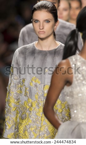 New York, NY - September 8, 2014: Appoline Rozhdestvenska walks the runway at Dennis Basso show during Mercedes-Benz Fashion Week Spring 2015 at The Theatre at Lincoln Center