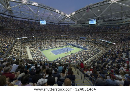 New York, NY - September 6, 2015: Atmosphere during 4th round match between Novak Djokovic of Serbia & Roberto Bautista Agut of Spain at US Open Championship on Ash stadium