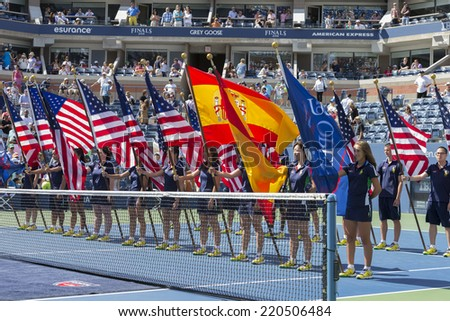 NEW YORK, NY - SEPTEMBER 7, 2014: Atmosphere during trophy presentation after final between Bryan brothers of USA & Marcel Granollers & Marc Lopez of Spain at US Open championship in Flushing Meadows - stock photo