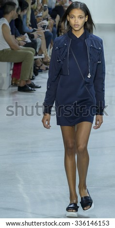 New York, NY - September 12, 2015: Aya Jones walks the runway at Lacoste Spring Summer 2016 fashion show during New York Fashion Week at Spring Studios, 50 Varick Street