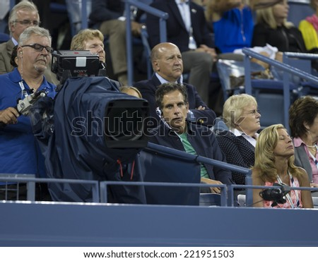 NEW YORK, NY - SEPTEMBER 3, 2014: Ben Stiller attends quarterfinal match between Andy Murray of United Kingdom & Novak Djokovic of Serbia at US Open championship in Flushing Meadows USTA Tennis Center