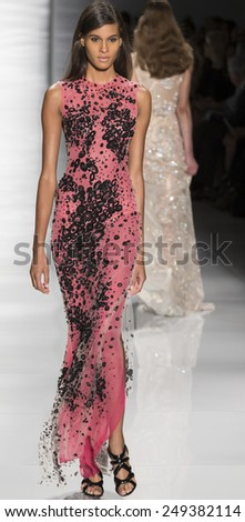 New York, NY - September 8, 2014: Cindy Bruna walks the runway at Reem Acra show during Mercedes-Benz Fashion Week Spring 2015 at The Theatre at Lincoln Center