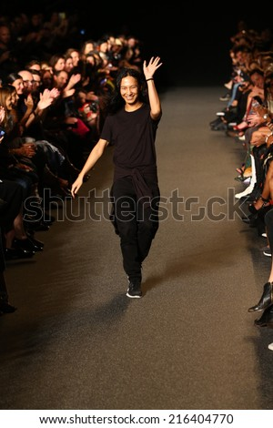 NEW YORK, NY - SEPTEMBER 06: Designer Alexander Wang walks the runway  at the Alexander Wang fashion show during Mercedes-Benz Fashion Week Spring 2015 on September 6, 2014 in New York City.  - stock photo