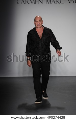NEW YORK, NY - SEPTEMBER 11: Designer Carmen Marc Valvo  walks the runway at the Carmen Marc Valvo Spring/Summer 2017 Fashion Show during New York Fashion Week on September 11, 2016 in New York City.
