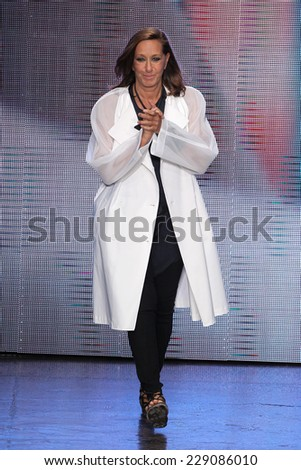 NEW YORK, NY - SEPTEMBER 07: Designer Donna Karan walks the runway at DKNY during Mercedes-Benz Fashion Week Spring 2015 at 547 West 26th Street on September 7, 2014 in New York City. - stock photo
