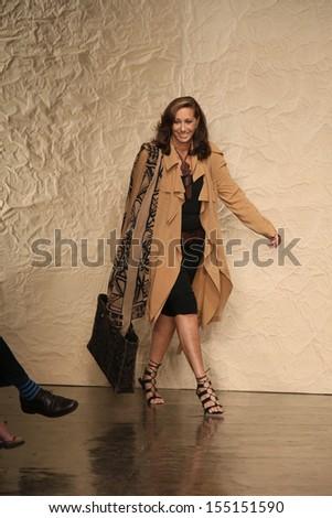 NEW YORK, NY - SEPTEMBER 09: Designer Donna Karan walks the runway at the Donna Karan New York fashion show during Mercedes-Benz Fashion Week Spring 2014 on September 9, 2013 in New York City. - stock photo