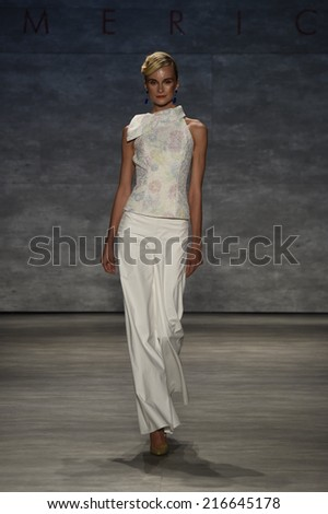 NEW YORK, NY - SEPTEMBER 10: Elena Kurnosova walks the runway at the B. Michael America fashion show during Mercedes-Benz Fashion Week Spring 2015 on September 10, 2014 in New York City - stock photo