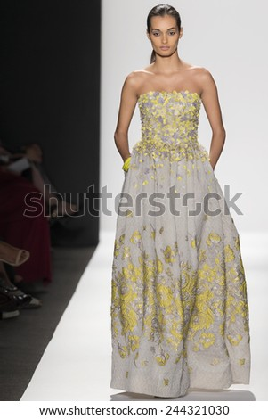 New York, NY - September 8, 2014: Gizele Oliveira walks the runway at Dennis Basso show during Mercedes-Benz Fashion Week Spring 2015 at The Theatre at Lincoln Center