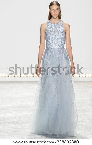 New York, NY - September 5, 2014: Hedvig Palm walks the runway at Monique Lhuillier show during Mercedes-Benz Fashion Week Spring 2015 at The Theatre at Lincoln Center - stock photo