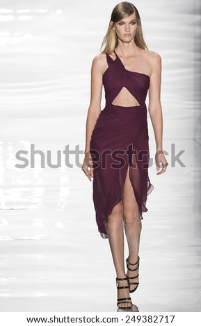 New York, NY - September 8, 2014: Irina Nikolaeva walks the runway at Reem Acra show during Mercedes-Benz Fashion Week Spring 2015 at The Theatre at Lincoln Center