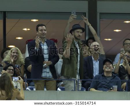 New York, NY - September 9, 2015: Jimmy Fallon & Justin Timberlake attend quarterfinal match between Roger Federer of Switzerland & Richard Gasquet of France at US Open Championship - stock photo