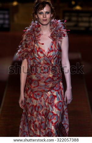 NEW YORK, NY - SEPTEMBER 17: Karen Elson walks the runway during the Marc Jacobs Spring/Summer 2016 fashion show at Ziegfeld Theater on September 17, 2015 in New York City.  - stock photo