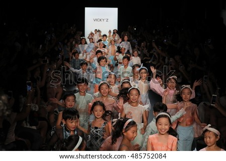 NEW YORK, NY - SEPTEMBER 10: Kids on the runway at the Vicky Zhang Parent Child Collection S/S 2017 during New York Fashion Week on September 10, 2016 in New York City