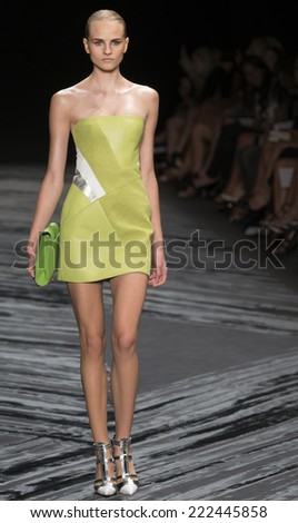 NEW YORK, NY - SEPTEMBER 11, 2014: Kristina Pet walks the runway at J Mendel fashion show during Mercedes-Benz Fashion Week Spring 2015 at The Theatre at Lincoln Center - stock photo