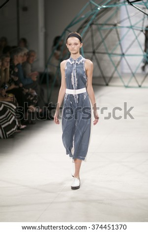 New York, NY - September 16, 2015: Mode Peyton Knightl walks runway for SUNO collection by Max Osterweis & Erin Beatty during New York Fashion Week Spring/Summer 2016 at Clarckson Square. - stock photo