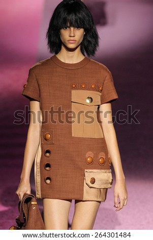 NEW YORK, NY - SEPTEMBER 11: Model Antonina Petkovic walk the runway at Marc Jacobs during Mercedes-Benz Fashion Week Spring 2015 at Seventh Regiment Armory on September 11, 2014 in NYC. - stock photo
