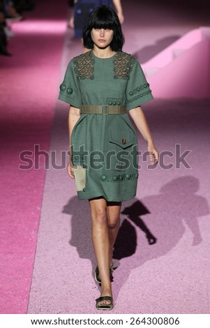 NEW YORK, NY - SEPTEMBER 11: Model Catherine McNeil walk the runway at Marc Jacobs during Mercedes-Benz Fashion Week Spring 2015 at Seventh Regiment Armory on September 11, 2014 in NYC.