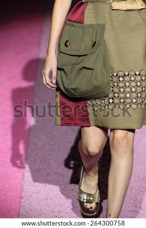 NEW YORK, NY - SEPTEMBER 11: Model Daphne Groeneveld walk the runway at Marc Jacobs during Mercedes-Benz Fashion Week Spring 2015 at Seventh Regiment Armory on September 11, 2014 in NYC. - stock photo