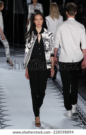 NEW YORK, NY - SEPTEMBER 07: Model Fei Fei Sun walks the runway at the Versus Versace Spring 2015 Collection during Mercedes-Benz Fashion Week at Metropolitan West on September 7, 2014 in NYC.