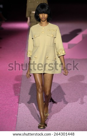 NEW YORK, NY - SEPTEMBER 11: Model Imaan Hammam walk the runway at Marc Jacobs during Mercedes-Benz Fashion Week Spring 2015 at Seventh Regiment Armory on September 11, 2014 in NYC. - stock photo