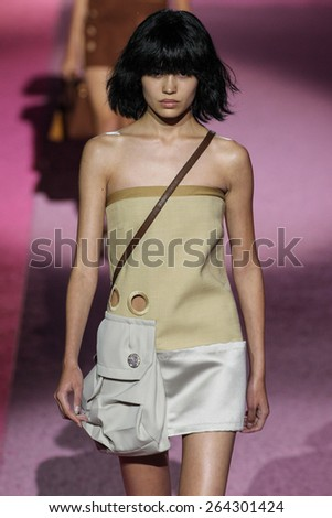 NEW YORK, NY - SEPTEMBER 11: Model Irina Sharipova walk the runway at Marc Jacobs during Mercedes-Benz Fashion Week Spring 2015 at Seventh Regiment Armory on September 11, 2014 in NYC. - stock photo