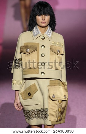 NEW YORK, NY - SEPTEMBER 11: Model Jessica Hart walk the runway at Marc Jacobs during Mercedes-Benz Fashion Week Spring 2015 at Seventh Regiment Armory on September 11, 2014 in NYC. - stock photo