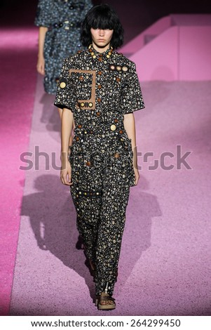 NEW YORK, NY - SEPTEMBER 11: Model Kirstin Kragh Liljegren walk the runway at Marc Jacobs during Mercedes-Benz Fashion Week Spring 2015 at Seventh Regiment Armory on September 11, 2014 in NYC. - stock photo
