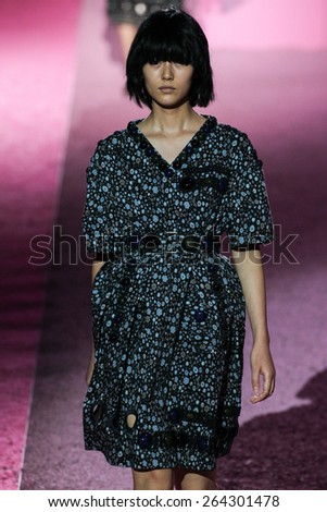 NEW YORK, NY - SEPTEMBER 11: Model Liu Wen walk the runway at Marc Jacobs during Mercedes-Benz Fashion Week Spring 2015 at Seventh Regiment Armory on September 11, 2014 in NYC. - stock photo
