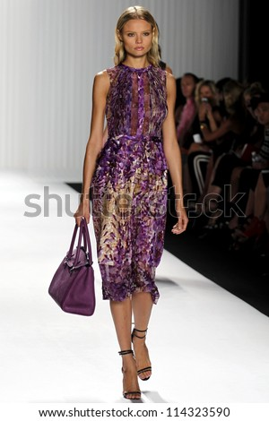 NEW YORK, NY - SEPTEMBER 12: Model magdalena frackowiak walks the runway at the J Mendel SS2013 fashion show during Mercedes-Benz Fashion Week on September 12, 2012 in New York City, USA