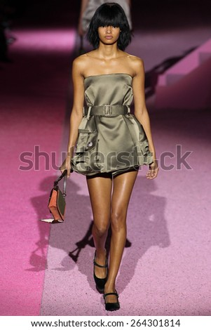 NEW YORK, NY - SEPTEMBER 11: Model Malaika Firth walk the runway at Marc Jacobs during Mercedes-Benz Fashion Week Spring 2015 at Seventh Regiment Armory on September 11, 2014 in NYC. - stock photo