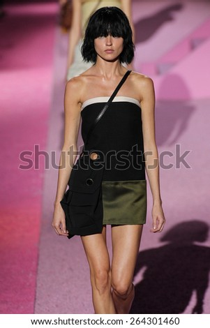NEW YORK, NY - SEPTEMBER 11: Model Martha Hunt walk the runway at Marc Jacobs during Mercedes-Benz Fashion Week Spring 2015 at Seventh Regiment Armory on September 11, 2014 in NYC. - stock photo