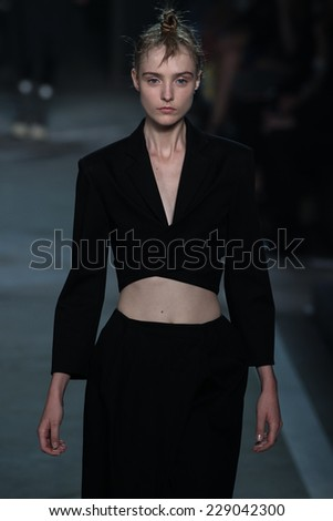 NEW YORK, NY - SEPTEMBER 09: Model Morta Kontrimaite walks the runway at the Marc By Marc Jacobs fashion show during Mercedes-Benz Fashion Week Spring 2015 at Pier 94 on September 9, 2014 in NYC. - stock photo