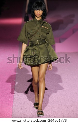NEW YORK, NY - SEPTEMBER 11: Model Samantha Archibald walk the runway at Marc Jacobs during Mercedes-Benz Fashion Week Spring 2015 at Seventh Regiment Armory on September 11, 2014 in NYC. - stock photo