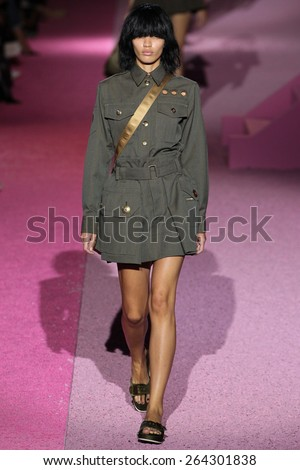 NEW YORK, NY - SEPTEMBER 11: Model Veridiana Ferreira walk the runway at Marc Jacobs during Mercedes-Benz Fashion Week Spring 2015 at Seventh Regiment Armory on September 11, 2014 in NYC. - stock photo