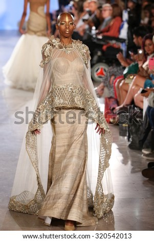 NEW YORK, NY - SEPTEMBER 13: Model walks Archana Korchhar runway at the FTL Moda Spring 2016 during NYFW at Vanderbilt Hall at Grand Central Terminal, on September 13, 2015 in NYC.