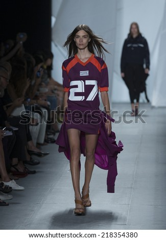 New York, NY - September 6, 2014: Model walks runway for Lacoste collection by Felipe Oliveira Baptista at Spring/Summer 2015 Fashion week in Lincoln Center