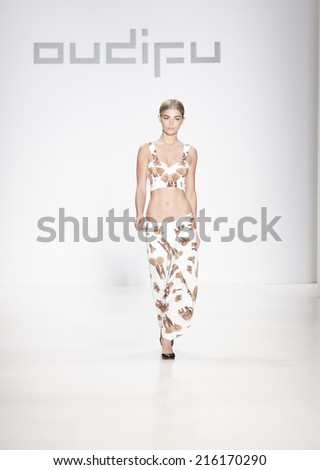 New York, NY - September 8, 2014: Model walks runway for Oudifu collection at Spring/Summer 2015 Fashion week in Lincoln Center - stock photo