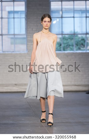 New York, NY - September 12, 2015: Model walks runway for show by Jill Stuart during New York Fashion week at Industria Super Studio